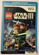 Nintendo Wii Lego Star Wars III Clone Wars Blockbuster Artwork Display Card - $5.00