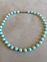 Vintage Necklace Ridged Beads Aqua Silver tone Spacers   1 Strand Choker... - $7.50