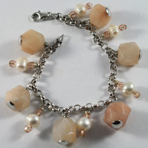 .925 RHODIUM SILVER BRACELET WITH PINK JADE, WHITE PEARLS AND ROSE CRISTAL image 1