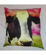 """Cow Power Throw Pillow 19""""x18"""" Polyester Defy Brand Bold Colors New Zip ... - $44.54"""