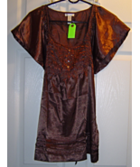 Women's Size Small Brown Shimmery Pleated Top with Mini Batwing Sleeves NWT - $16.99