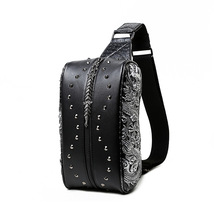 men 3D rivet decoration punk rock style messenger bag - $39.00