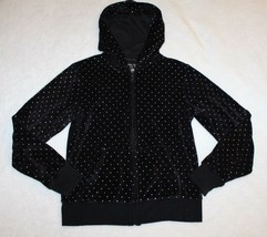 Total Girls Hoodie Size M 10 12 Black Velour Silver Dot Zip Jacket Casua... - $19.79