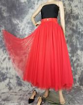 Women Red Long Tulle Skirt High Waist Tulle Skirt with Pockets Tulle Party Skirt image 4