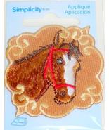 Simplicity Iron-On Applique Brown Horse Head in Red Bridle Embroidered 2... - £0.93 GBP