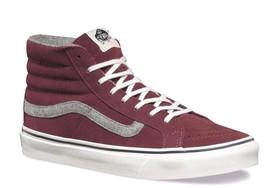 VANS Sk8 Hi Slim (Vintage Suede) Red Mahogany Skate Shoes Womens Size 5 - $49.95