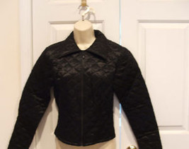 New in Pkg Frederick's Of Hollywood Black Quilted  Jeans Jacket made in USA  MED - $28.71