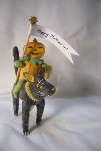 Vintage Inspired Spun Cotton Halloween Jack on a Cat