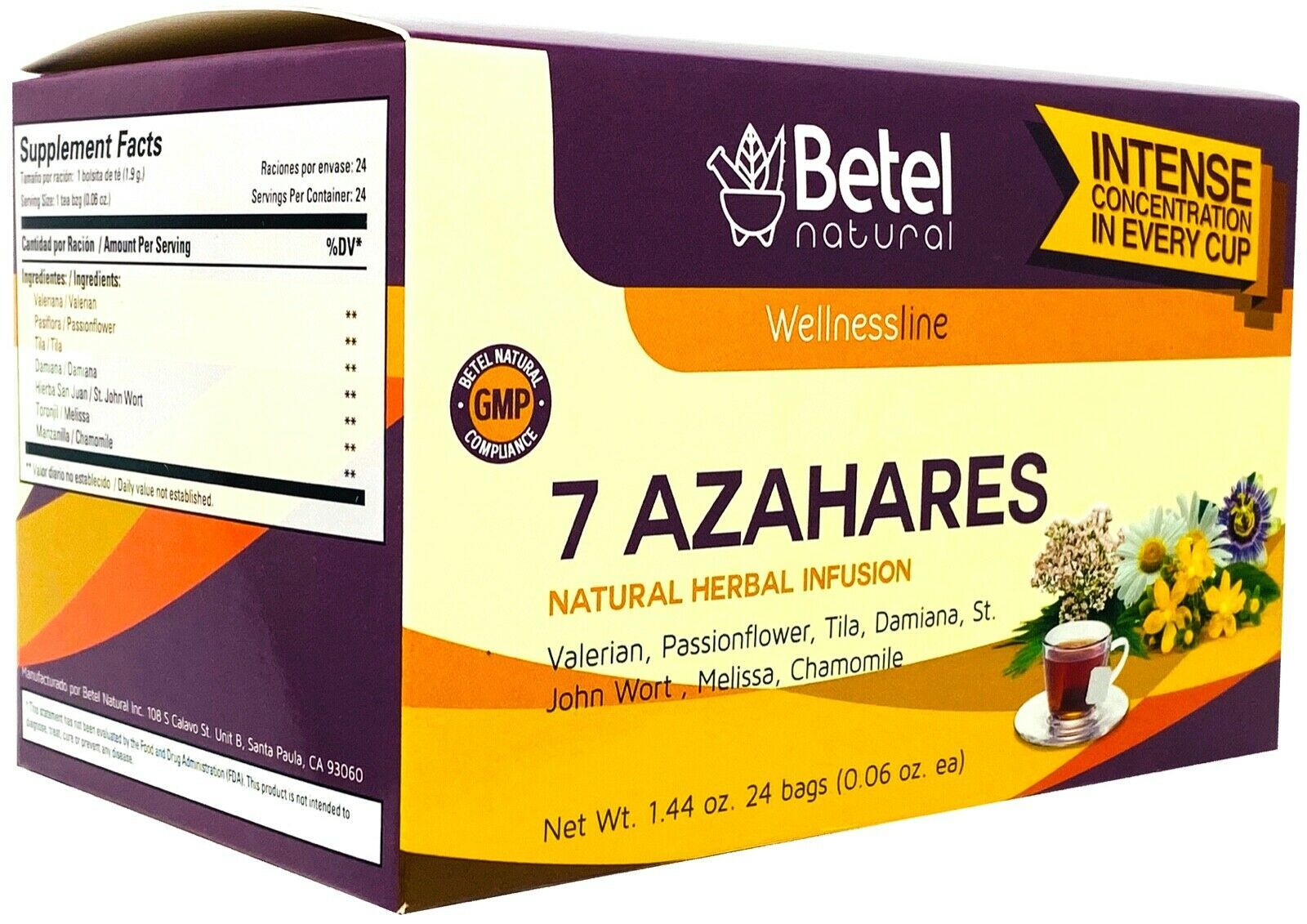 7 Azahares (7 Blossoms) Tea by Betel Natural - Relax the Day Away - 24 Tea Bags - $9.95
