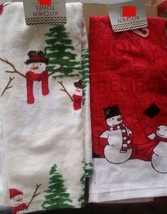 "Set Of 2 Different Printed Towels, Extra Absorbent (15"" X 25"") Snowmen # 3 By Am - $10.88"