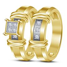 Round Cut Diamond 18k Yellow Gold Plated Pure 925 Silver Wedding Bridal Ring Set - $89.74