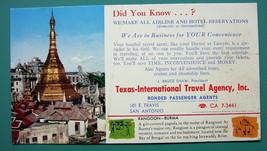 INK BLOTTER 1960s - RANGOON Burma & AD for Texas San Antonio Travel Agency - $4.49