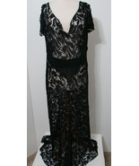 VINTAGE Sheer Black Silk Rayon Lace Flutter Sleeve Snap Close Bias Cut D... - $359.99
