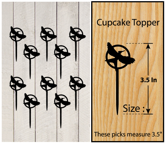 Ca352 Decorations cupcake toppers The Hunger Games silhouette Package : 10 pcs
