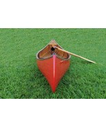 """26.5"""" x 117"""" x 20"""" Red Wooden Canoe With Ribs Curved Bow - $3,158.54"""