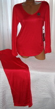 Red Pajama Set Stretch Harve Benard S M L Long Sleeves Long Pants - $28.99