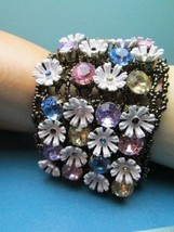Betsey Johnson Daisy Flower & Pastel Crystal Mesh Stretch Bracelet Jewelry - $57.41