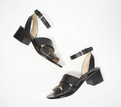 Marc Fisher Leather Block Heeled Sandals - Omela Black 11 M - $59.39