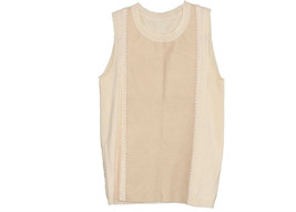 J Crew Collection Women's Cashmere Leather Front Shell Sleeveless A9092 S - $45.99