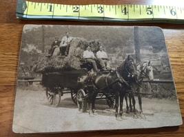 Cabinet Card Three Men & Boy in Horse Drawn Hay Wagon Neat 1880's Era! - $8.00
