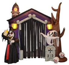 8.5 Foot Halloween Inflatable Haunted House Castle with Skeletons, Ghost... - $221.59