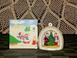 Avon Ornament WINTER FUN IGLOO ESKIMOS & PENQUIN   Vintage 1983  - $4.95