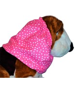 Handmade Dog Snood Bright Pink White Irregular Dots Cotton Size Small - $11.50
