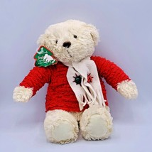 Hallmark JINGLE BEAR Plush with Red Sweater Scarf Bells Musical Jingle Bell Song - $13.85