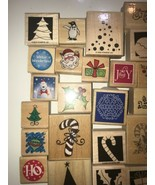 Rubber Stamp on Wood Vintage lot of 50 Christmas Merry Christmas Pictures! - $112.19