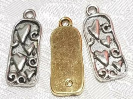 HEARTS FINE PEWTER PENDANT CHARM  - 10x24x2mm image 2