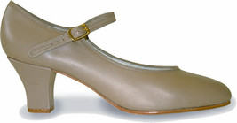 Capezio 561 Tan Women's 9.5 Wide Leather Tap Jr Footlight Buckle Tap Shoes - $44.99