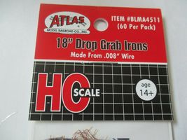 """Atlas # BLMA4511 Drop Grab Iron 18"""" .008 Wire 60 Per Pack HO-Scale image 5"""