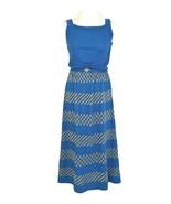 60s LOUIS FÉRAUD Bold Blue Gold Lurex Metallic Jersey Deco Print Belted ... - $140.00