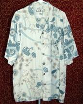 CARIBBEAN JOE Hawaiian green floral silk short sleeve button shirt XL (T... - $11.86