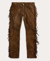 QASTAN Men's New Native American Buckskin Color Suede Leather Fringes Pants WP2 image 2