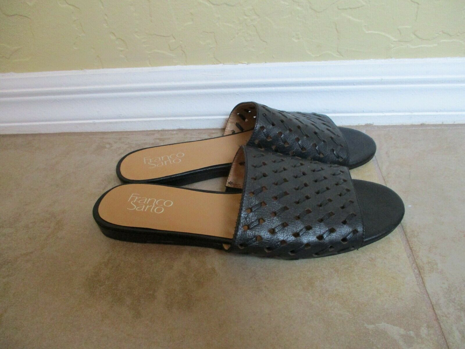 Franco Sarta Black Perforated Leather Mules For Women Size 9 Eur 39.5 image 5