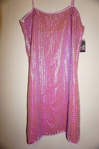 Free People with Anna Sui mini dress sz XS all over pink iridescent sequ... - $59.35
