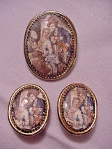 Whiting & Davis Rare Courting Couple Pin Matching Clip Earrings Set - $28.71