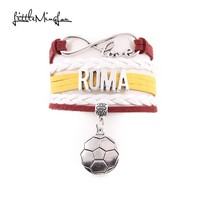 Infinity love Italy Roma Bracelet soccer Charm leather wrap men bangles ... - $8.97 - $8.97