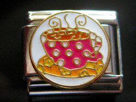 Cuppa Tea cup  Italian Charm 100% stainless steel fits 9mm Nomination Bracelet - $3.12