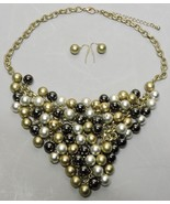 """Gold Black Silver Glass Bead Necklace Earring Set Adjustable Chain 17"""" 2... - $15.79"""