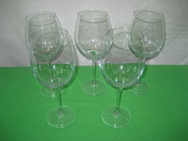 Set of 5 Clear Crystal Glass Glassware Stemware Long Stem Wine Goblets 9... - $15.79