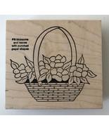 Rubber Stamp Flower Basket SR985-T Shirley Rainman Make an Impression 3.... - $5.80