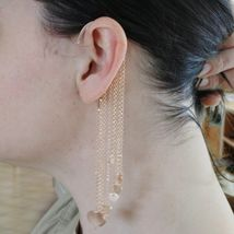 Single Earring Silver 925 Laminated in Rose Gold le Favole Fringe and Hearts image 4