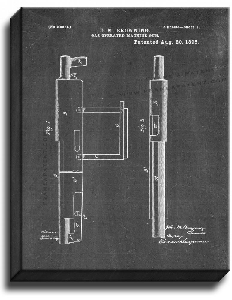 Primary image for Gas-operated Machine-gun Patent Print Chalkboard on Canvas