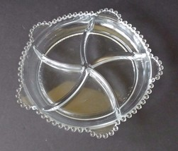 Beaded Clear Glass Divided Serving Tray with Handles Candlewick - $19.34