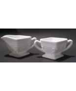 Vintage Milkglass Sugar & Creamer Set Flowers & Scrolls - $34.99