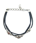 """ANKLET MOON STARS BLACK CHARMS FRIENDSHIP STRAP ACRYLIC ADJUSTABLE UP TO 9"""" - $9.45"""