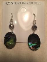 Vintage Genuine Abalone Drop 925 Sterling Silver Earrings - $34.65
