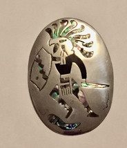 Large Taxco Sterling silver abalone and black onyx inlay oval vintage Ea... - $599.00